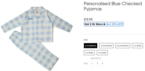 An example of sizes available on a Baby Box page for personalised blue checked pyjamas