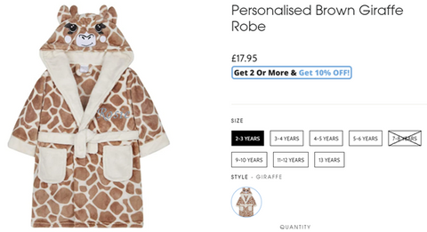An example of sizes available for a Baby Box personalised brown giraffe robe