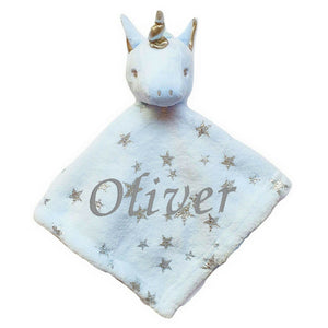 Personalised Unicorn Star Comfort Blanket - Blue
