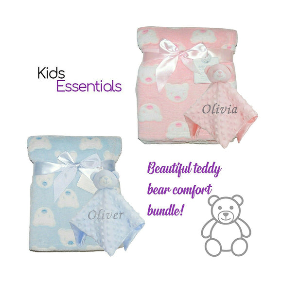 2 Different Personalised Bear Face Blankets with Matching Bear Bobble Comforters.