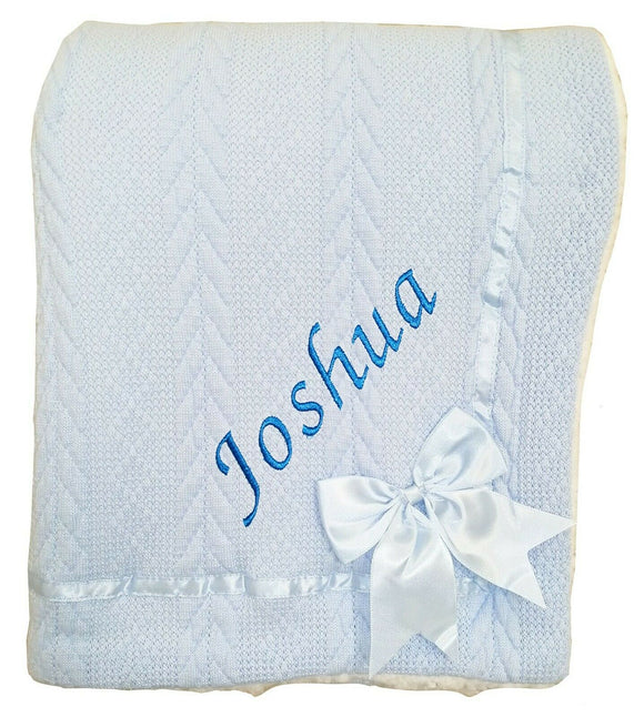 Personalised Light Blue Knitted Bow Blanket