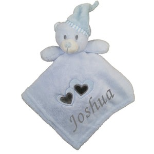 Personalised Blue Heart Comfort Blanket
