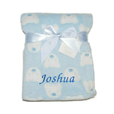 Personalised Baby Blue Bear Face Banket