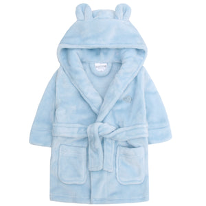 Personalised blue baby dressing gown, with bear ears.