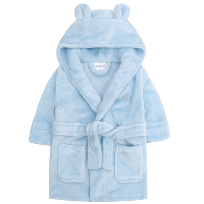 Personalised blue baby dressing gown, with bear ears.  baby dressing gown. baby robe. personalise dressing gown.