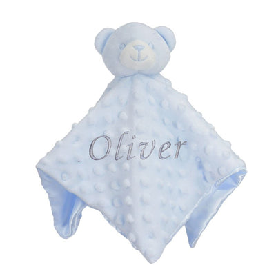 Personalised Blue Bobble Bear, Comfort Blanket