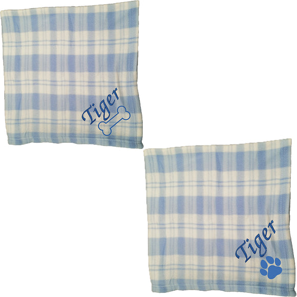 Personalised Blue Checked Pet Blankets