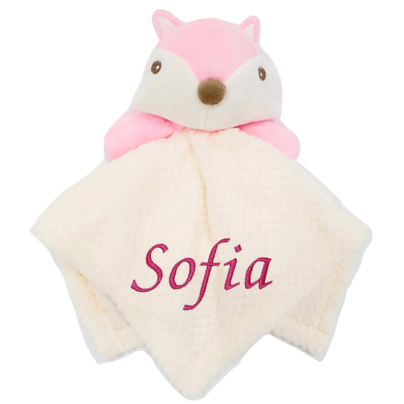 Personalised Pink Fox Comfort Blanket