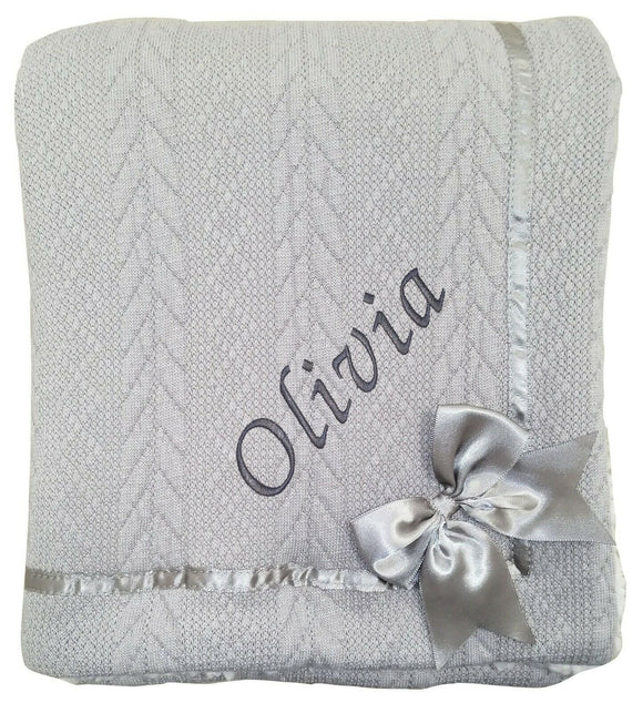 Personalised Grey Knitted Bow Blanket