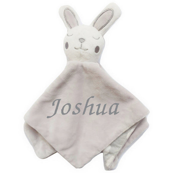Personalised Soft Bunny Comfort Blankets - Grey