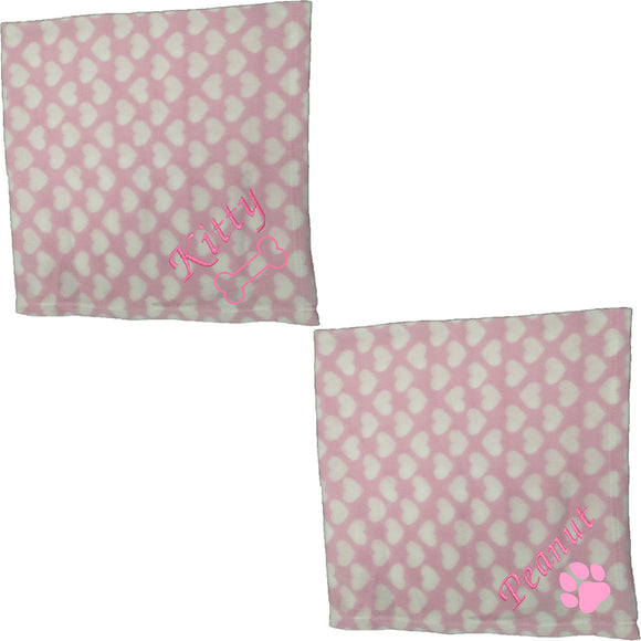 Personalised Pink Heart Pet Blankets