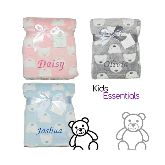 Three Personalised Baby Blankets, with Bear Face Designs!