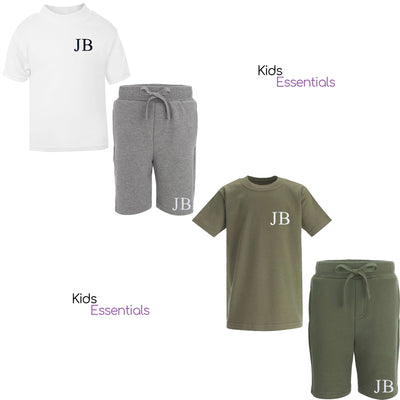 2 Sets of Personalised Shorts + Tee Sets, in White/Grey and Khaki.