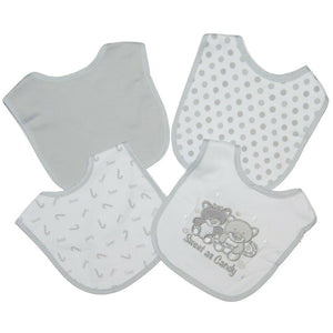 Set of 4 Grey Baby Dribble Bibs with Various Designs