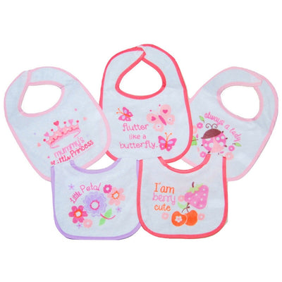 Set of 5 Baby Girls Dribble Bibs with various designs