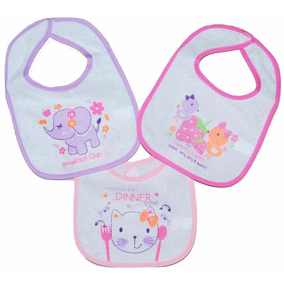 Set of 3 Baby Girls Pink Dribble Bibs featuring various designs.