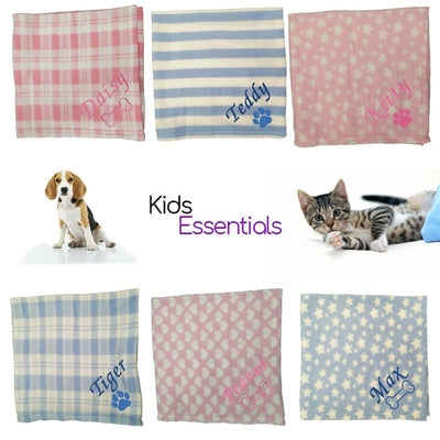 6 Different Personalised Pet Blankets, featuring Pet names, and Dog and Cat images.