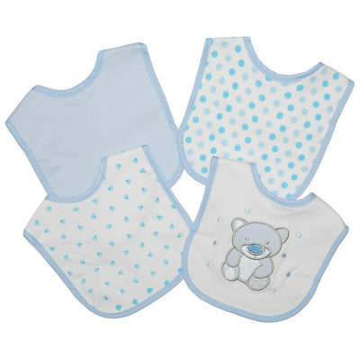Set of 4 Blue Baby Dribble Bibs, with various designs.