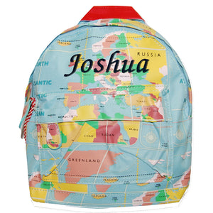 Personalised World Map Print Mini Backpack