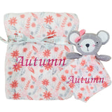 Personalised Pink Leaf Blanket with matching Mouse Comfort Blanket