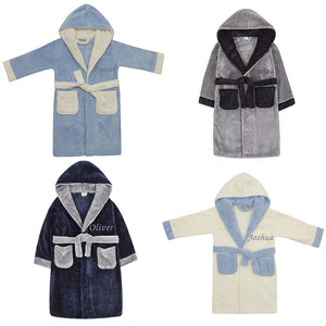 Personalised Boys Contrast Dressing Gowns