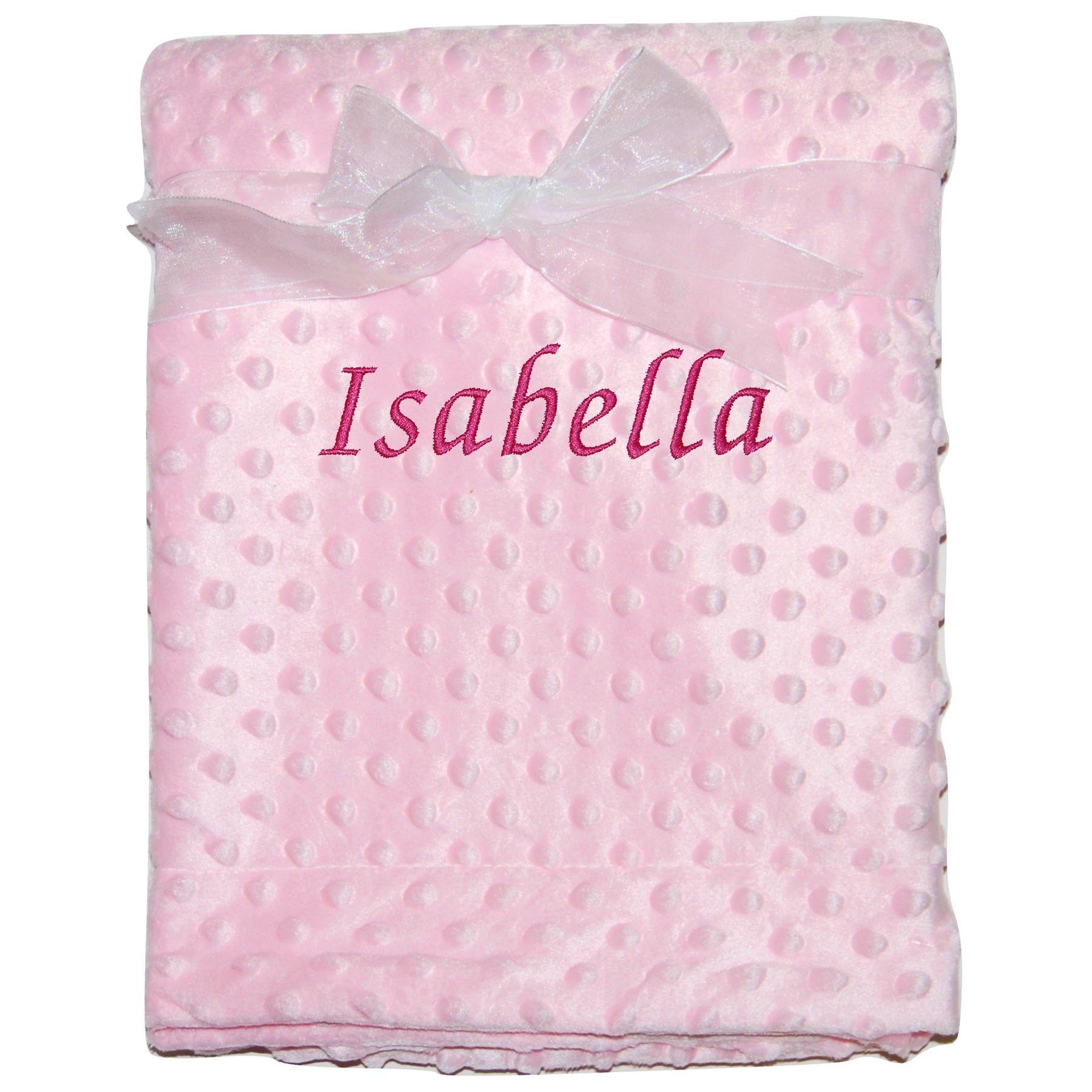 """This is the pink version of the baby bobble blanket personalised with the name """"Isabella"""""""