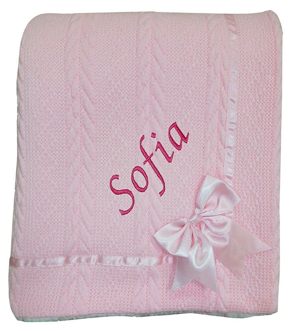 Personalised Pink Knitted Bow Blanket