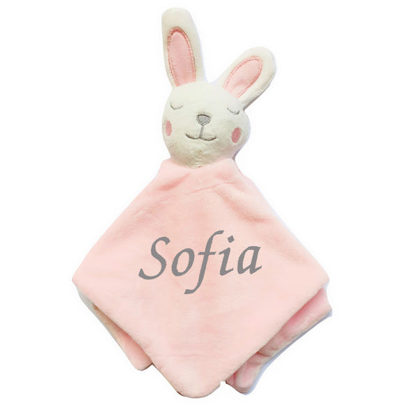Personalised Soft Bunny Comfort Blanket - Pink