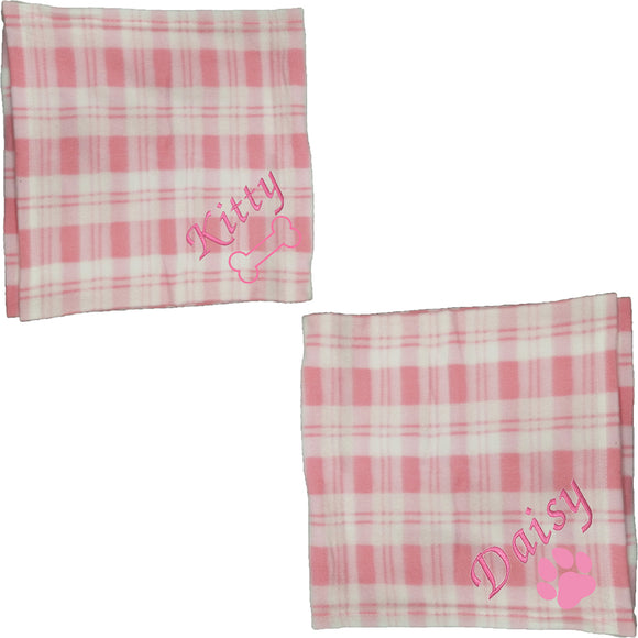 Personalised Pink Checked Pet Blankets