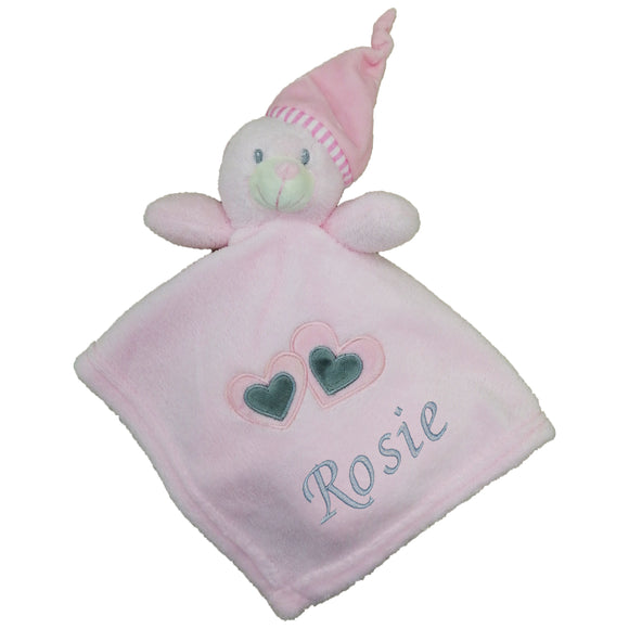 Personalised Pink Heart Comfort Blanket