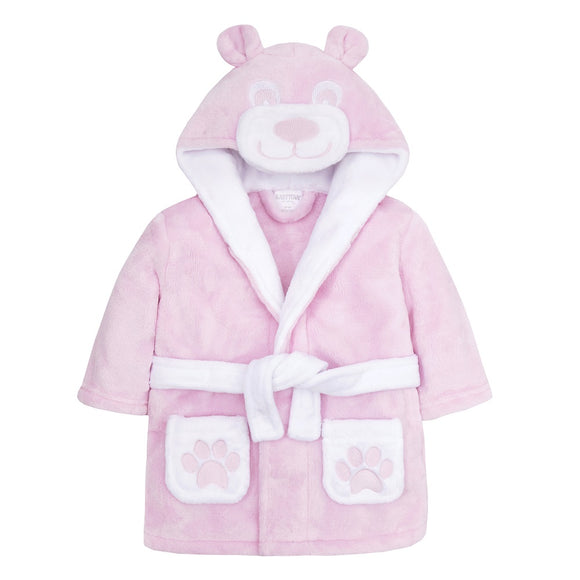 Personalised Pink Baby Dressing Gown with Bear Face