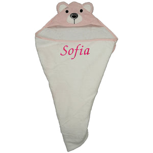Three Different Personalised Baby Hooded Towels, with Animal Hoods.