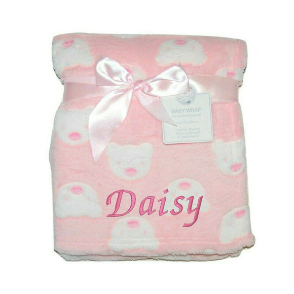 Personalised Baby Pink Bear Face Blanket