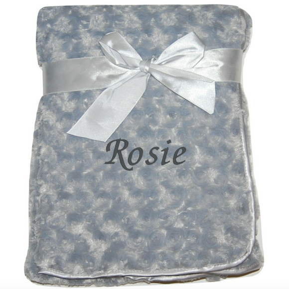 Personalised Grey Rosebud Blanket with Embroidered Name