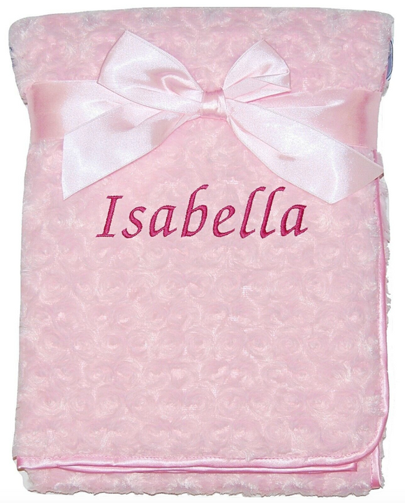 Personalised Pink Rosebud Blanket