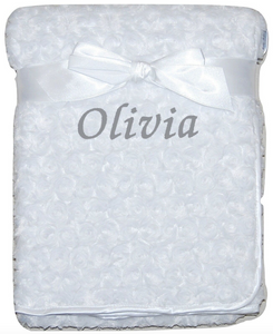 Personalised White Rosebud Blanket