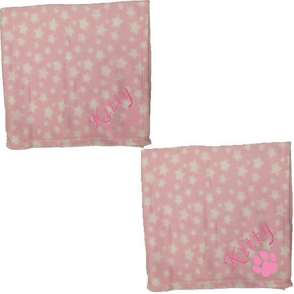 Personalised Pink Star Pet Blankets