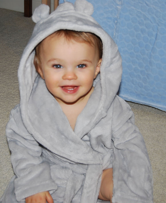 Light Grey Baby Dressing Gown with Bear Ears