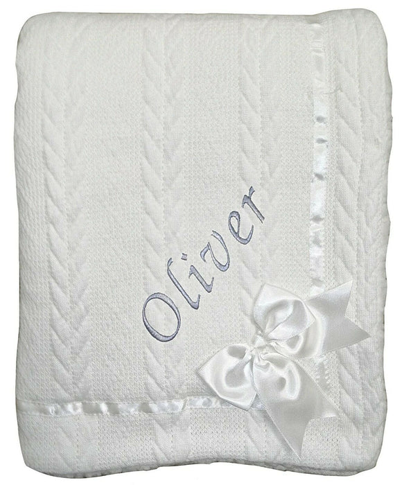 Personalised White Knitted Bow Blanket