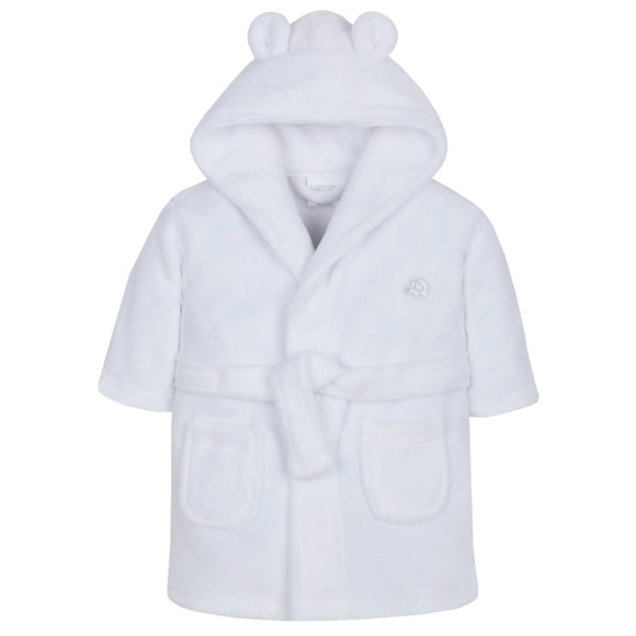 White Baby Dressing Gown with Bear Ears.