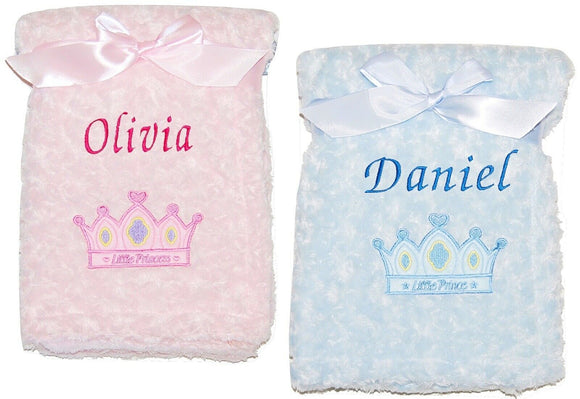 PERSONALISED BABY BLANKET ROSEBUD PRINCE PRINCESS BLUE PINK BOY GIRL GIFT