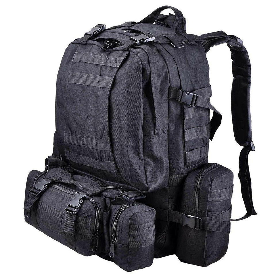 55L Outdoor Military Molle Tactical Backpack Rucksack Camping Bag Travel Hiking xcceries Black