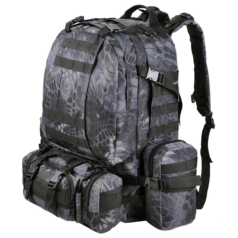 55L Outdoor Military Molle Tactical Backpack Rucksack Camping Bag Travel Hiking xcceries Black Pythons Grain
