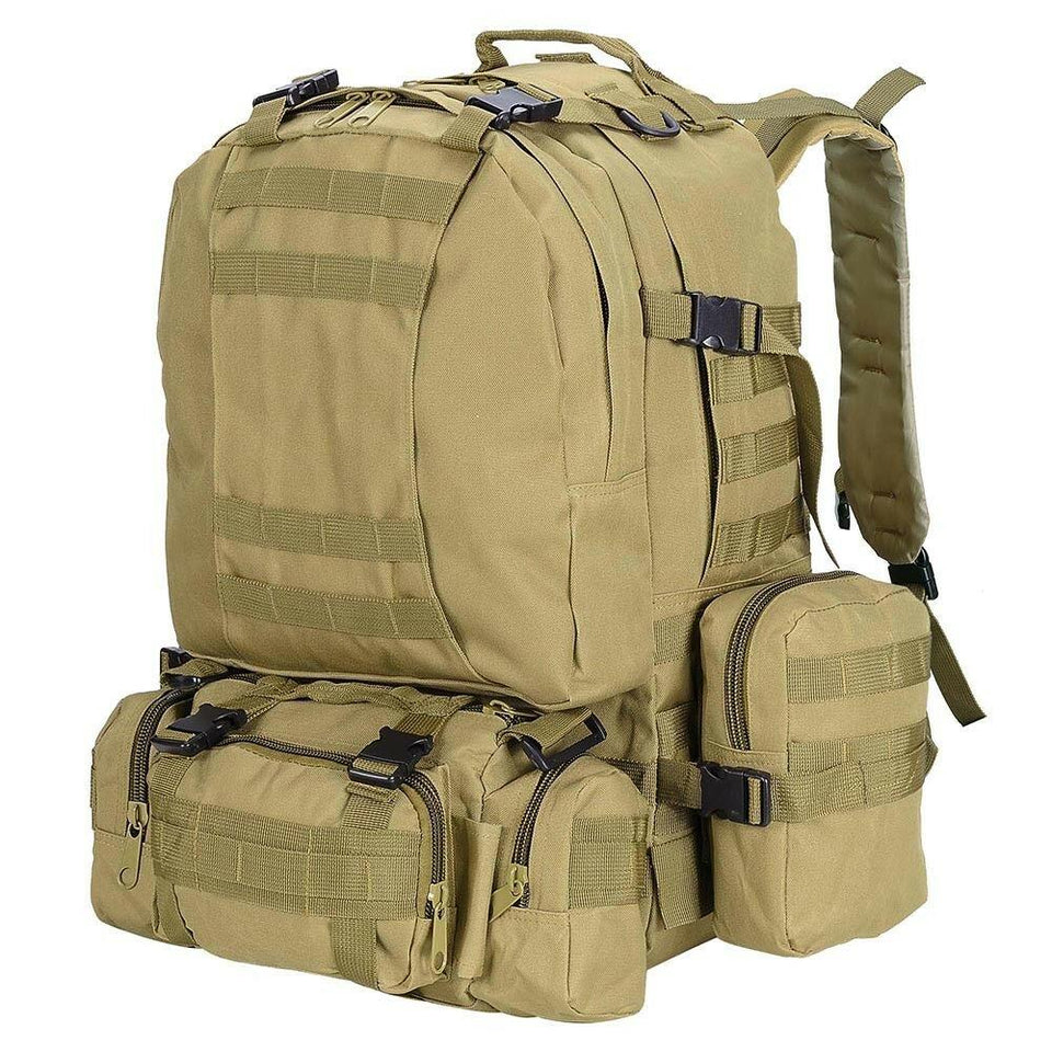 55L Outdoor Military Molle Tactical Backpack Rucksack Camping Bag Travel Hiking xcceries Mud Color