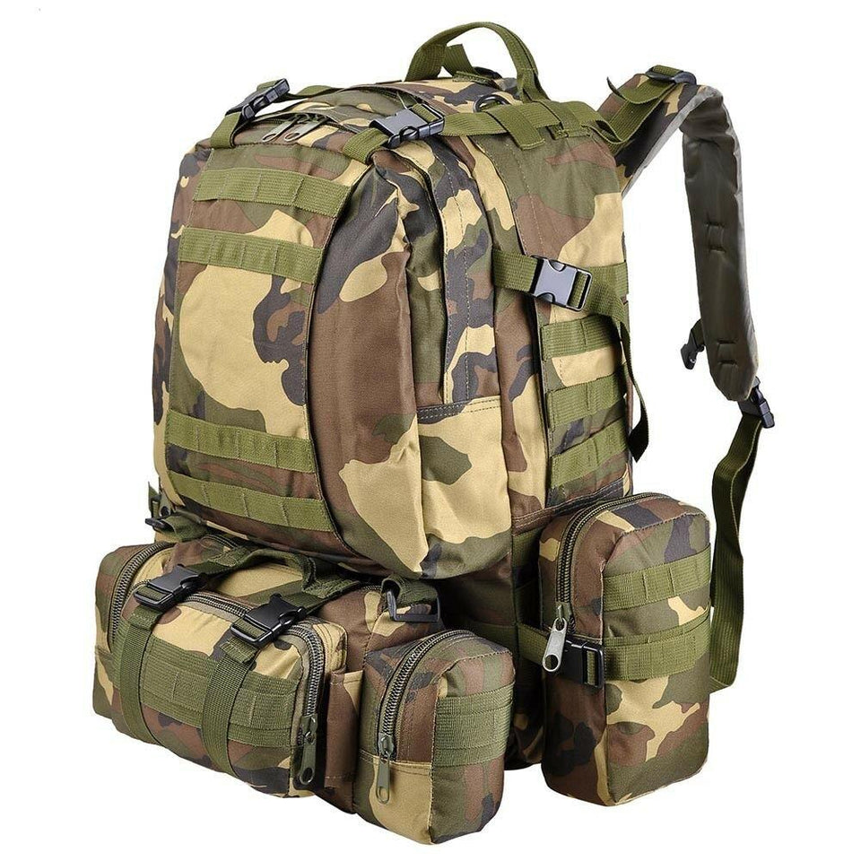 55L Outdoor Military Molle Tactical Backpack Rucksack Camping Bag Travel Hiking xcceries Woodland Camouflage