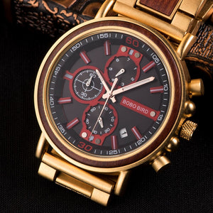 BBWood™ Men's Genuine Wooden Chronograph Watch Wood Watch BBWood™ Fashion Golden