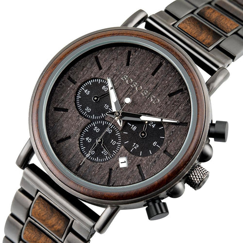 BBWood™ Men's Genuine Wooden Luxury Military Quartz Gray Wrist Wood Watch wood watch BBWood™ Fashion