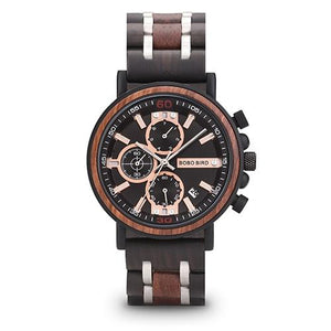 BBWood™ Men's Genuine Wooden Luxury Military Quartz Vintage Wrist Wood Watch wood watch BBWood™ Fashion Dark Walnut