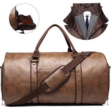 BLGarment™ Men's Leather 2-in-1 Garment + Duffel Convertible Large Weekend Travel Bag Duffle Travel Bag BLGarment™
