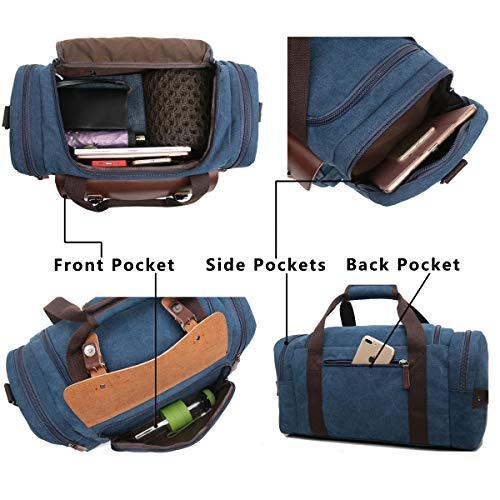 CrossLX™ Men's Canvas Travel Gym Duffle Weekend Bag w/ Leather Accent Duffle Travel Bag CrossLX™